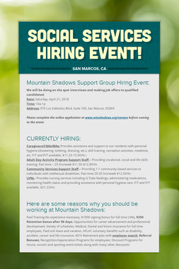 Social Services Hiring Event!