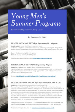 Young Men's Summer Programs