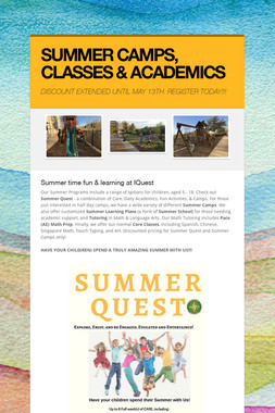 SUMMER CAMPS, CLASSES & ACADEMICS