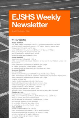 EJSHS Weekly Newsletter