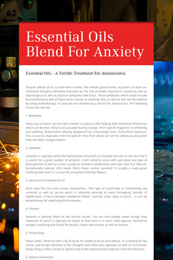 Essential Oils Blend For Anxiety