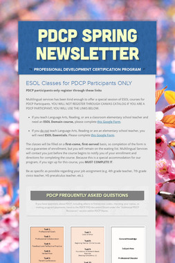 PDCP Spring Newsletter