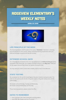 Ridgeview Elementary's Weekly Notes