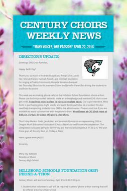 Century Choirs Weekly News