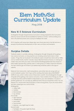 Elem Math/Sci Curriculum Update