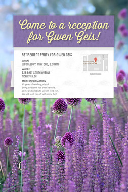Come to a reception for Gwen Geis!