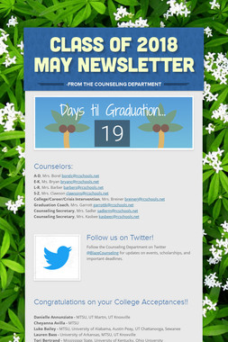 Class of 2018 May Newsletter