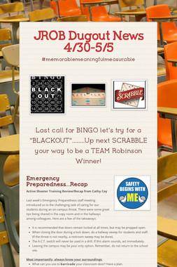 JROB Dugout News 4/30-5/5