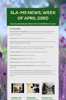 SLA-MS News, Week of April 23rd