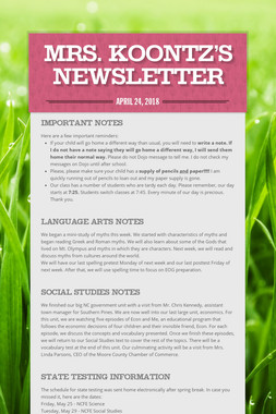Mrs. Koontz's Newsletter