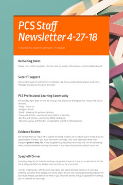 PCS Staff Newsletter 4-27-18