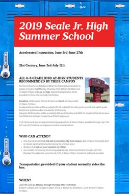 2019 Seale Jr. High Summer School