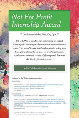 Not For Profit Internship Award