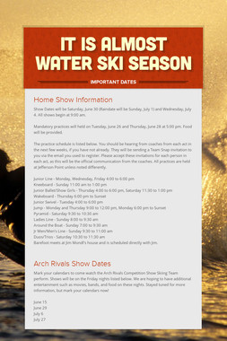 It is almost Water ski Season