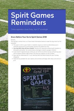 Spirit Games Reminders
