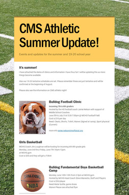 CMS Athletic Summer Update!