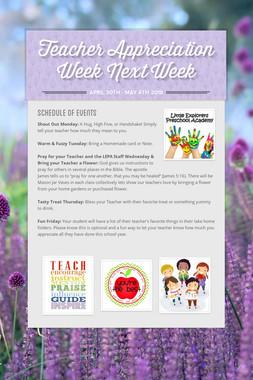 Teacher Appreciation Week Next Week