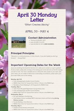 April 30 Monday Letter