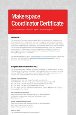 Makerspace Coordinator Certificate