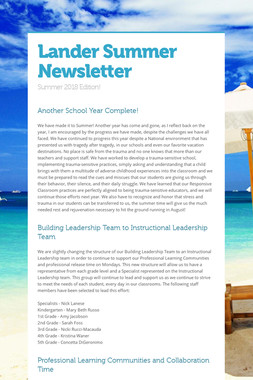 Lander Summer Newsletter