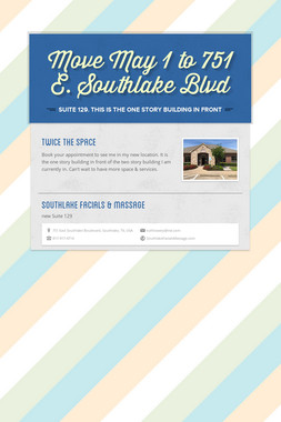 Move May 1 to 751 E. Southlake Blvd