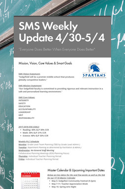 SMS Weekly Update 4/30-5/4