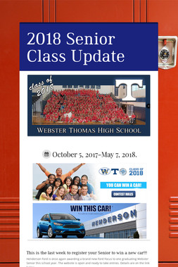 2018 Senior Class Update