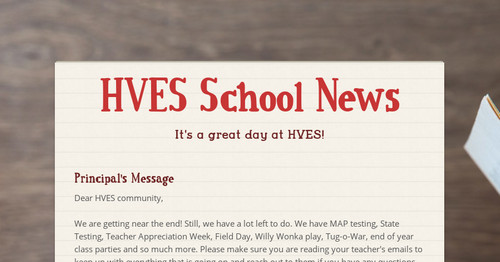 HVES School News | Smore Newsletters for Education