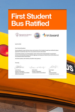 First Student Bus Ratified