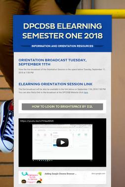 DPCDSB eLearning  Semester One 2018