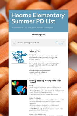 Hearne Elementary Summer PD List