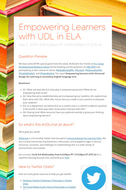 Empowering Learners with UDL in ELA