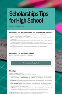 Scholarships Tips for High School