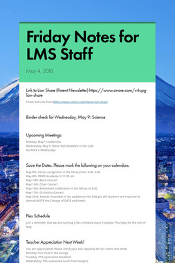 Friday Notes for LMS Staff