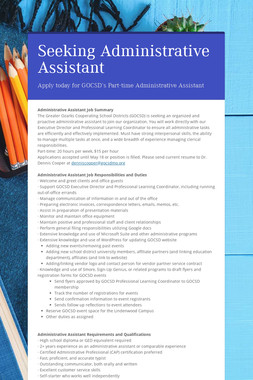 Seeking Administrative Assistant