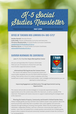K-5 Social Studies Newsletter