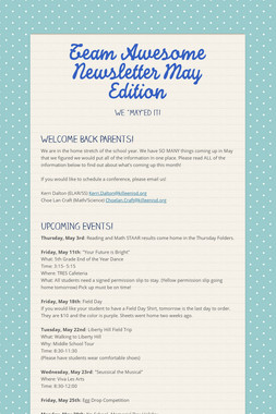 Team Awesome Newsletter May Edition