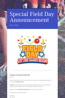 Special Field Day Announcement
