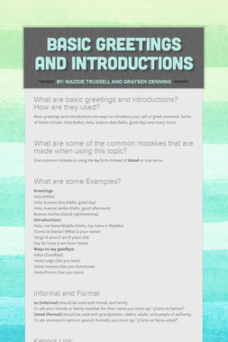 Basic Greetings and Introductions
