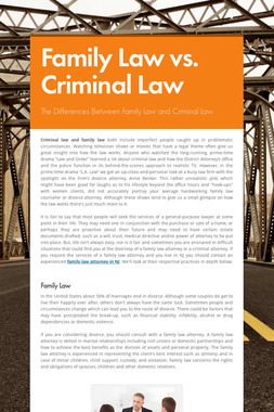 Family Law vs. Criminal Law