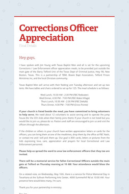 Corrections Officer Appreciation