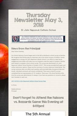 Thursday Newsletter May 3, 2018