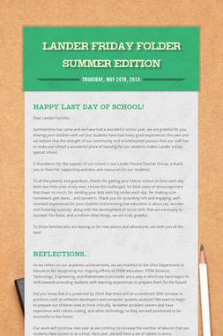 Lander Friday Folder Summer Edition