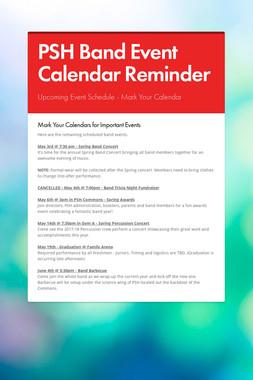PSH Band Event Calendar Reminder