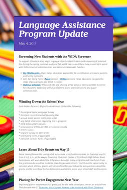 Language Assistance Program Update