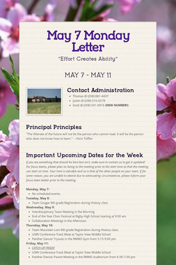May 7 Monday Letter