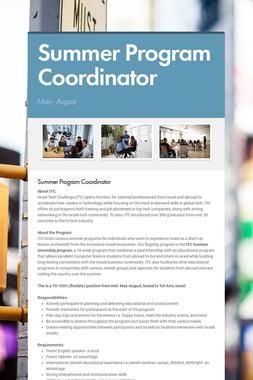 Summer Program Coordinator