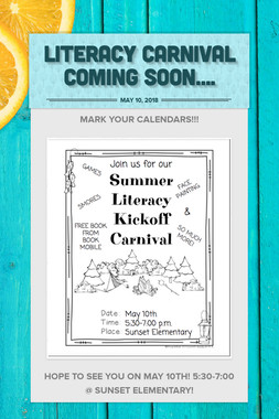 Literacy Carnival Coming Soon....