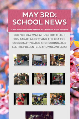 May 3rd: School News