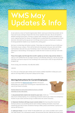 WMS May Updates & Info